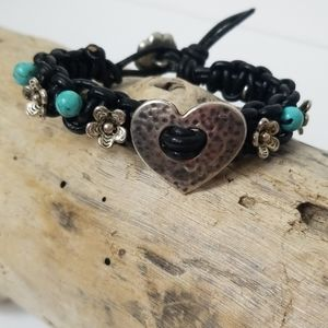 Black Leather Bracelet Silver Heart Turquoise A7